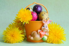 Easter bunny , eggs and flowers - Stock photos stock photo