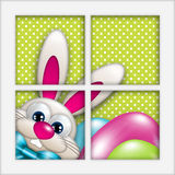 Easter bunny with eggs looking by the window. Easter cartoon bunny with eggs looking by the window Royalty Free Stock Images