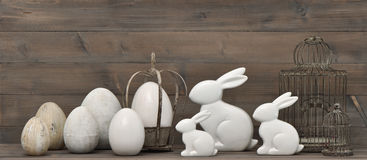 Easter bunny and eggs. retro style decoration Royalty Free Stock Images