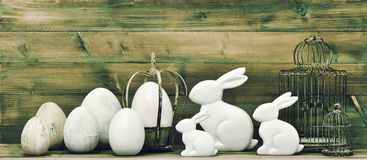 Easter bunny and eggs. retro style easter decoration Stock Image
