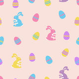 Easter Bunny and eggs seamless vector pattern background Royalty Free Stock Images