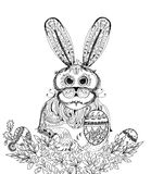 Easter bunny and eggs, Sketch collection illustration Stock Photo