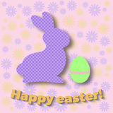 Easter bunny element. Happy easter day. Cute easter bunny and egg at a floral background. Vector illustration. Use for icons, banners, flayers, greeting cards Royalty Free Stock Image