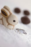 Easter bunny and engagement rings in the snow Stock Images