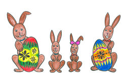 Easter bunny family with easter eggs. Easter bunnies family with easter eggs, childs drawing royalty free illustration