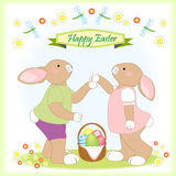 Easter bunny family greeting card Stock Image