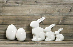 Easter bunny family and white eggs decoration Stock Photography