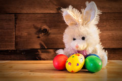 Easter Bunny. Five Easter eggs and the Easter Rabbit Stock Photography