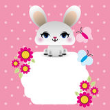 Easter bunny with floral frame Royalty Free Stock Image