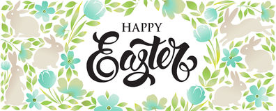 Easter bunny with floral ornaments. Royalty Free Stock Photos