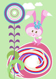 Easter bunny with a flower Royalty Free Stock Photography