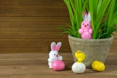 Easter bunny in flower pot Royalty Free Stock Photo