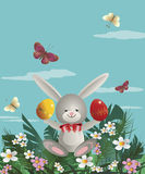 Easter bunny 4. At flowering lawn under blue sky Easter bunny sitting and holding in the paws painted Easter eggs. Vector illustration Stock Photography