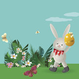 Easter bunny 7. At flowering lawn under the blue sky, the Easter Bunny walks and holds in paws painted Easter eggs. Vector illustration Stock Images