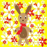 Easter bunny with flowers Stock Photos