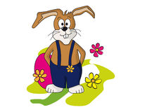 Easter bunny with flowers Stock Photo