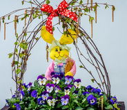 Easter bunny in flowers. stock photo