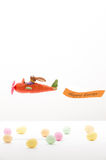 Easter bunny flying in a Carrot-airplane Stock Photography