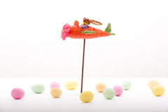 Easter bunny flying in a Carrot-airplane Royalty Free Stock Photos