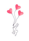 Easter bunny flying with paper heart balloons, illustration Stock Photography