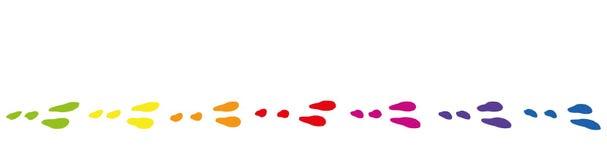 Easter Bunny Footprints Rainbow Colored Tracks Stock Image