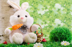 Easter bunny in a forest. Easter bunny on a green meadow holding basket filled with eggs Royalty Free Stock Photos