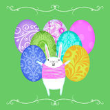 Easter Bunny in Front of  Rows of Easter Eggs Stock Photos