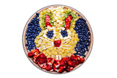 Easter Bunny Fruit Platter. An Easter Bunny made of various fruit on a white background. Isolated on white Stock Photography