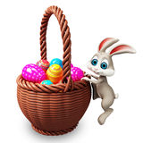 Easter bunny with full age bucket Stock Images