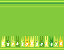 Easter bunny fun three Easter eggs background for greetings card Royalty Free Stock Photography