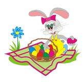 Easter Bunny 003. Funny beauty Easter Bunny collect colored eggs in a wicker basket on the meadow picnic vector illustration