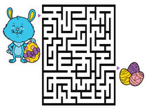 Easter bunny game. Vector illustration of labyrinth game with cute Easter bunny for children Stock Photos