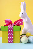 Easter Bunny with gift box. Royalty Free Stock Image