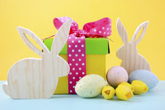 Easter Bunny with gift box. Royalty Free Stock Images