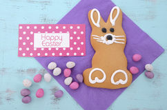 Easter bunny gingerbread cookie Royalty Free Stock Photography