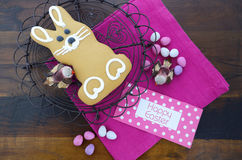 Easter bunny gingerbread cookie Stock Image