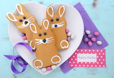 Easter bunny gingerbread cookies Stock Photo