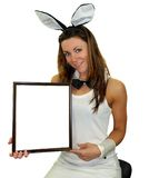 Easter bunny girl. With a frame for advertisement Stock Photography