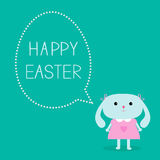 Easter bunny girl and dash line egg bubble. Card. Stock Image