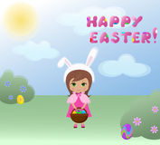 Easter bunny girl. Happy easter card. vector illustration Royalty Free Stock Images