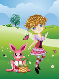 Easter Bunny and Girl Royalty Free Stock Photo
