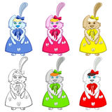 Easter Bunny Girls Colorful Stock Photography