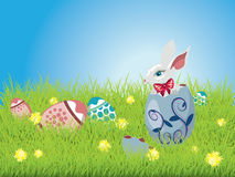 Easter Bunny and Grass Field. Cute Easter bunny sitting inside a colorful cracked egg on grass field background Royalty Free Stock Images