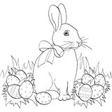 Easter bunny on green grass, Easter eggs. Children coloring book. Black lines, white background. Pop art Easter bunny on green grass, Easter eggs. Children Stock Images