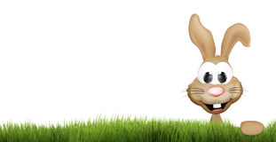 Easter bunny green grass. happy easter 3d render Stock Image