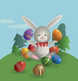 Easter bunny 9. On the green lawn Easter bunny sits and holds in paws painted Easter eggs. Vector illustration Royalty Free Stock Photo