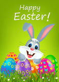 Easter bunny. Easter greeting card with colorful eggs and bunny Royalty Free Stock Images