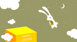 Easter bunny greeting card. Happy easter greeting card, cute white easter bunny with golden egg stock illustration