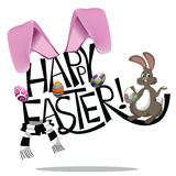 Easter bunny hand drawn lettering Stock Photography