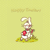 Easter bunny. Happy easter card. easter  bunny and eggs Royalty Free Stock Photo